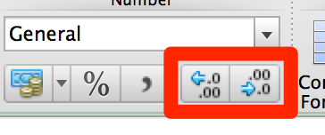 Excel decimals button