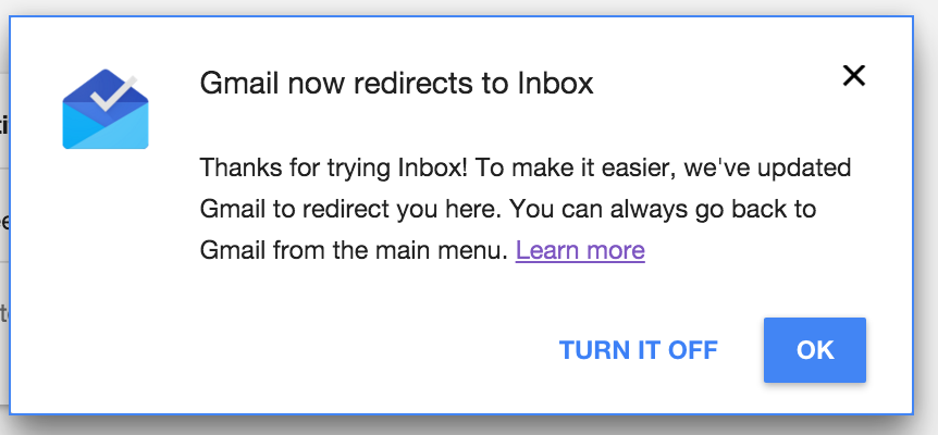 redirect to Inbox